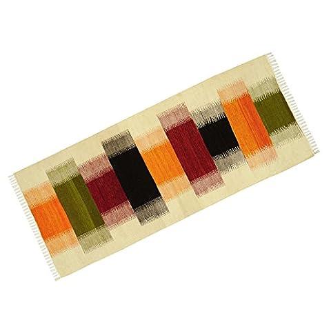 """Motif multicolore coton jute indienne étage Runner Rug Rag Stripe tissé à la main 74 """"X 31"""""""