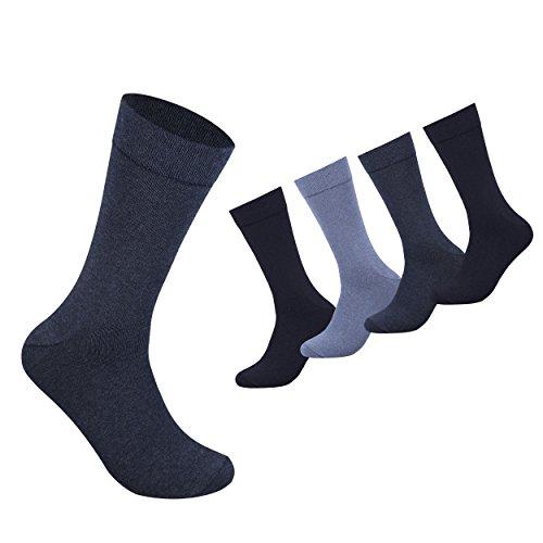 10 Paar Herrensocken Business Herren Socken Baumwolle Schwarz Blau Braun Grau (39/42, Blau)