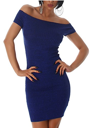 Jela London Damen Kleid Strickkleid Strick Kurzarm Feinripp Abendkleid Coctailkleid (Blau)
