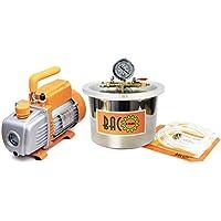BACOENG 6.8L Vakuumkammer mit 3CFM Einstufige Vakuumpumpe Unterdruckpumpe mit Manometer HVAC