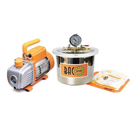 BACOENG 6.8L Vakuumkammer mit 3CFM Einstufige Vakuumpumpe Unterdruckpumpe mit Manometer HVAC (50 Cfm Lüfter Motor)
