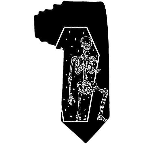 Men 'S Krawatte Halloween Skull And Star Weiß und Schwarz Polyester Silk Neck Tie