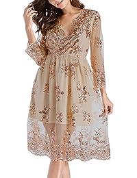 Simple-Fashion Primavera y Otoño Vestido de Playa Mujeres Elegante Moda Lentejuelas Tul Costura Midi