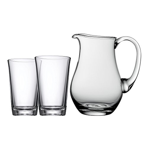 WMF Basic Gläser-Set, 3-teilig, Krug mit 2 Gläser, 1,0 l und 0,25 l, Glas, spülmaschinengeeignet