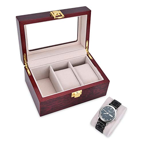 OTraki Watch Box Wooden 3 Slots Mens Womens Watch Case with Glass Display Organiser Holder Storage Boxes Metal Buckle with Removable Pads Wrist Watches Jewellery Bracelet Collections EINWEG
