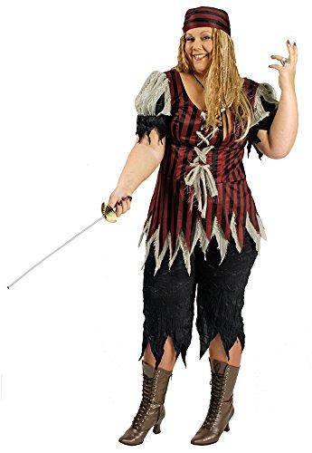beuterin Damen für große Größen Gr. 44 46 - Tolles XXL Piraten Seeräuber Kostüm für Frauen zu Karneval und Mottoparty (Erwachsene Königin Der Meere Kostüme)