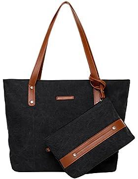 PB-SOAR Damen Vintage Canvas Shopper Handtasche Set 2 Stücke Schultertasche Einkaufstasche Geldbörse