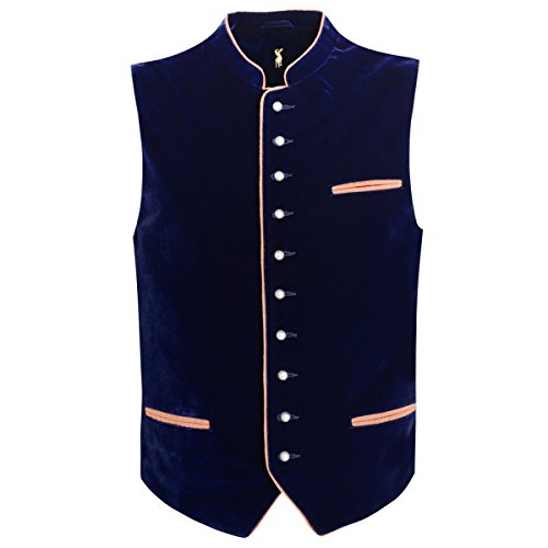 Almsach Herren Trachten-Mode Samtweste Trachtenweste Hard in Dunkelblau traditionell, Größe:60, Farbe:Dunkelblau