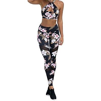 Damen Sportanzug Yoga Weste BH + Leggings Sport-set Blumen Gederuckt Elastizität Sportwear Fitness Anzüge Frauen Hemd Hosen für Yoga, Workout,Jogging,Lauf Mxssi