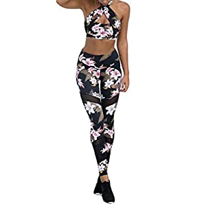 Juleya Frauen Sportanzug Yoga Legt Hemd BH + Leggings Elastizität Fitness Anzüge Mode Drucken Trainingsanzug für Yoga, Laufen und andere Aktivitäten