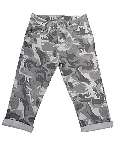 Washed Denim-mini (Karostar by Lexxury Damen Baggy Boyfriend Stretch Shorts Bermuda Capri Krempel Hose Knopfleiste Nieten (L-40, Camouflage Knöpfe))