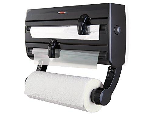 Leifheit Wandrollenhalter Parat F2 ComfortLine-Serie für insgesamt 3 Rollen, Folienschneider mit Abstellfläche für Gewürze und abnehmbarem Küchenrollenhalter, schwarz