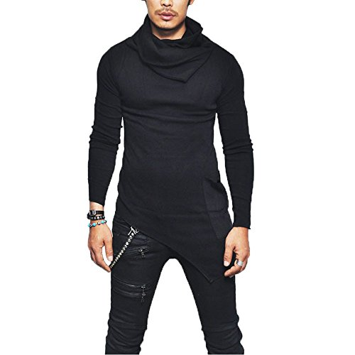 Honestyi Herren Hot Langarmhemd Männer Slim Fit TÜLTENECK Langarm Muscle T-Shirt Casual Tops Bluse(Schwarz,L)