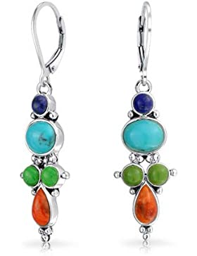 Bling Jewelry Sterling Silber Lapis synthetischer Türkis Rot Koralle Ohrringe