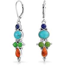 Bling Jewelry Multicolor Lapis Turchese Arancio Shell goccia Orecchini 925 - Nativo Americano Del Turchese Orecchini