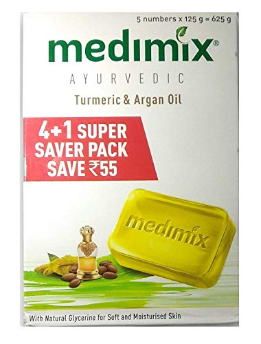 Medimix Ayurvedic Turmeric and Argan Oil Bathing Soap, 125g (Buy 4 Get 1 Free) with Face Wash, 50ml - 50 Ml Face Wash