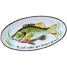 young' S i will piatto ovale in ceramica, multicolore,