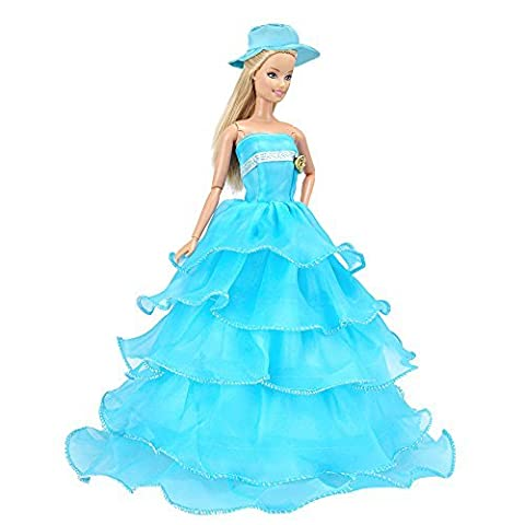 E-TING Blaue Mehrschichtigen Partykleid Kleidung Kleid mit Schal für Barbie-Puppen