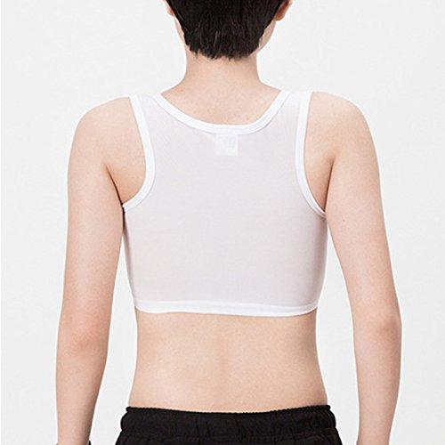 Baron Hong été forte élasticité maille poitrine Binder sport corset court soutien-gorge pour Tomboy lesbienne Blanc
