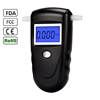 Professional Digital Breathalyzer, Portable Breath Alcohol Detector LCD Display Alcohol Tester with 10 Mouthpieces