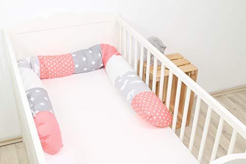 ULLENBOOM ® Bettschlange, Nestchenschlange Coral Wolken (Baby Bettrolle 200x13 cm, ideal als Babybett Kantenschutz, Lagerungskissen, Motiv: Sterne)