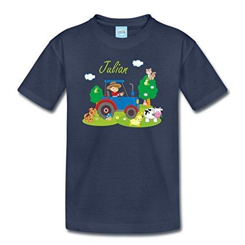 T-Shirt mit eigenem Namen für Babys Kleinkinder Kinder Kindergarten Schulkind Kindershirt Sommershirt Bauernhof Traktor (118-128) (Kleinkind-t-shirt Bauernhof,)