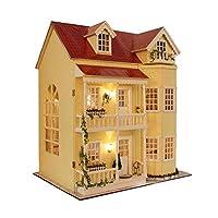 umisky DIY Wooden Dollhouse Handmadek Miniature Kit - Modell Geburtstagsgeschenk Spielzeug & Möbel & Voice Controller Spieluhr - larger doll house