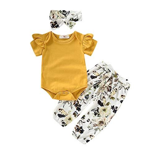 Mädchen Kleidung Set 3 Stück Baby Toddler Kinder Langarm Solid Spielanzug + Blumendruck Hosen + Haarband 3Pcs Kleinkind Neugeborenes Kinderkleidung (Gelb#1, 6-12 Months) ()