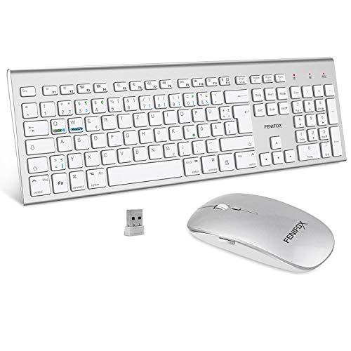 FENIFOX Tastatur Maus Kabellose,Duale Systemumschaltung QWERTZ 2.4G Ergonomie 2400 DPI mit Flüsternd Key für Windows macOS iMac Weiß und Silber -