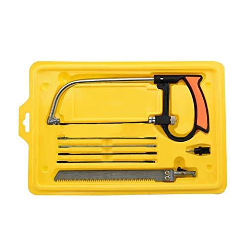 Mini sierra de mano madera Set 8-in-1multifonctionel pequeña sierra para metales manual universal, con maletín (amarillo)
