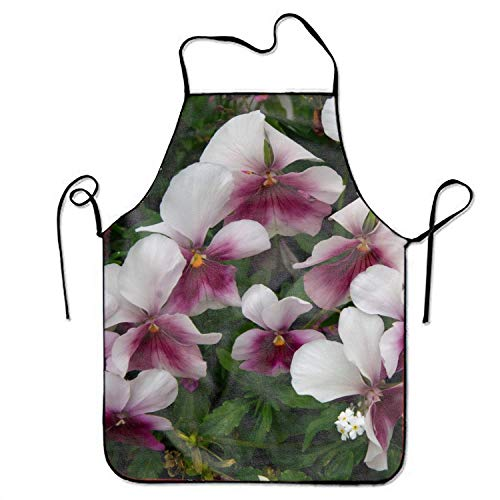 Fs2A1X Unisex Waterproof Aprons Powder White Pansy Kitchen Apron for Cooking Gardening