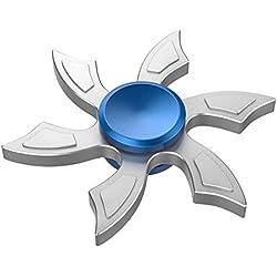 ATiC Hand Fidget Spinner Juguete — Seis Hojas Fidget Spinner Estrés Ciclón Juguete, Hand Juguete de Aluminio con Rodamiento de Alta Velocidad Rotación, para ADD, ADHD, Niños o Adultos, Azul+Plata