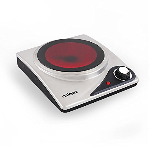 Cusimax CMIP-S106 1200W Stainless Steel Infrared Cooktop Portable Electric Single Ceramic Hot Plate