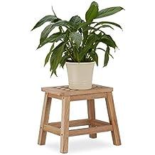 Relaxdays Tritthocker Holz, Fußbank aus Naturholz, niedriger Blumenhocker für Töpfe, HBT: 25,5 x 29,5 x 22 cm, natur