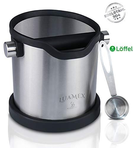 Luamex® Edelstahl Abschlagbehälter - Behälter für Kaffeesatz - Abschlagbox mit gummierter Abklopfstange - Abklopfbehälter für Kaffeesatz - Kaffeesatzbehälter inkl. Kaffee Dosierlöffel -