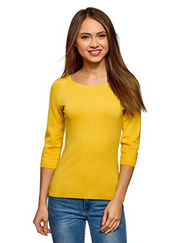 oodji Collection Damen Pullover Basic mit 3/4-Ärmeln, Gelb, DE 44 / EU 46 / XXL