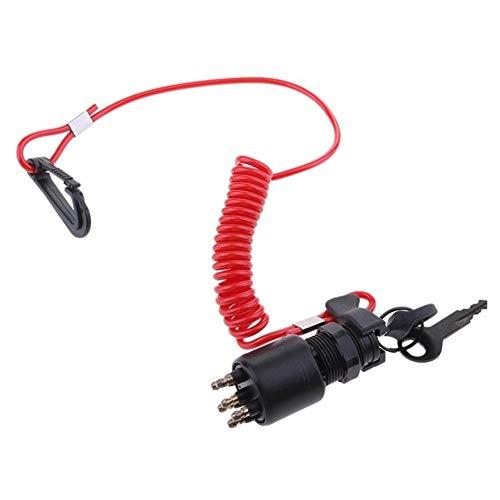 TD Switches TONGDAUR Universal Motorrad Schalter Zündschlüssel Schalter Schlüsselband schwarz/rot -