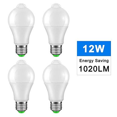Konesky E27 Lampadine a LED con sensore di movimento a vite PIR 12W bianco caldo 3000K 1020LM Utilizzare perline lampada SMD Pacchetto risparmio energetico di 4 [Classe energetica A +]