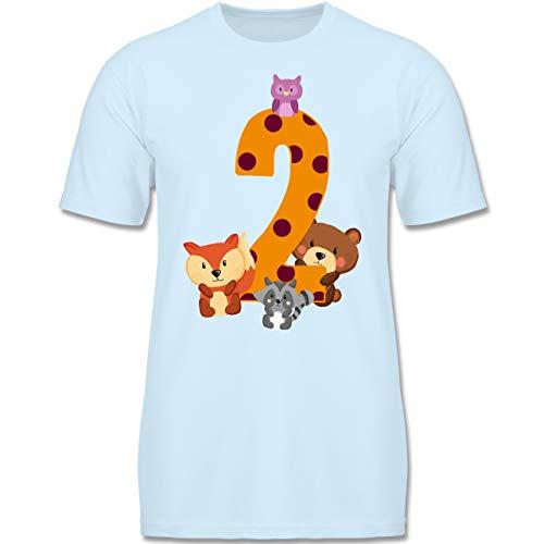 Geburtstag Kind - 2. Geburtstag Waldtiere - 98-104 (3-4 Jahre) - Babyblau - F140K - Jungen T-Shirt