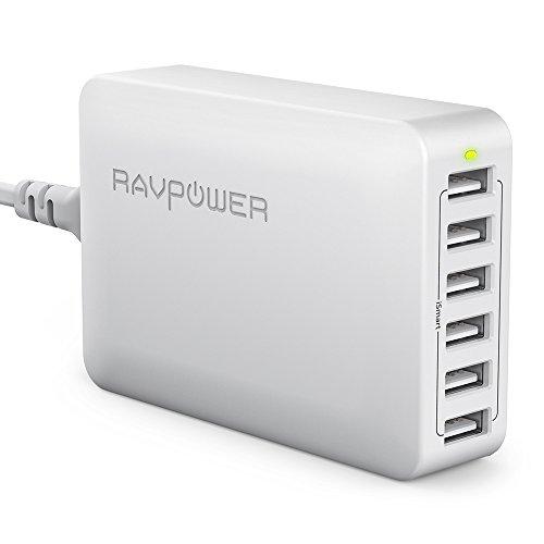 RAVPower Caricatore da Muro da 60W con 6 Porte USB + Stazione di Ricarica (Ricarica iSmart, Compatibilità Universale, da 100V a 240V, Triplo Meccanismo di Protezione, Indicatore LED)