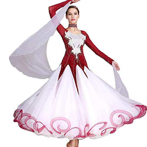 Ceremonie Kostüm - ZXYYUE Handgefertigte Ballsaal Kleider Wettbewerb Tanzanzug Modernes Walzer Performance Dance Kostüm für Damen Nationales Soziales Tanzkleid,Red,XXL