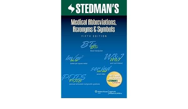 Buy Stedmans Medical Abbreviations Acronyms Symbols Stedmans