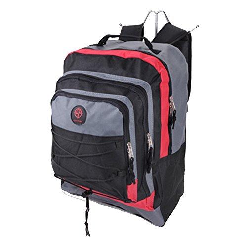 Friedndz Trendz-Reinforcing Seite Schnallen Reisegepäck Daypack Rucksack Bagpack (black/red/grey) black/red/grey