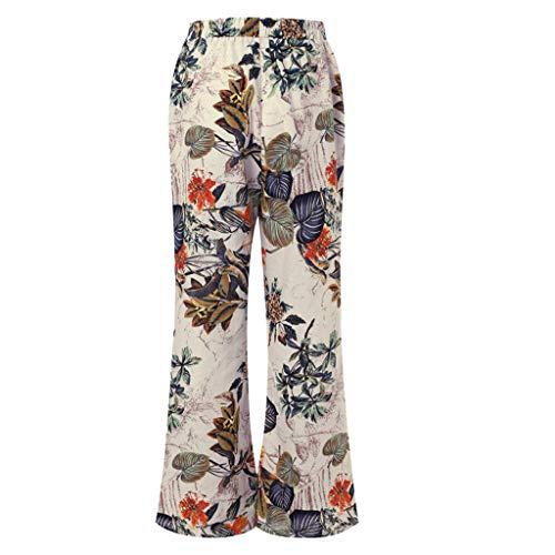 ♥ Loveso♥ Damen Fashion Plus Size Lässige Floral Schlaghose Vintage Baggy Yoga Lange Hose Cape Thong