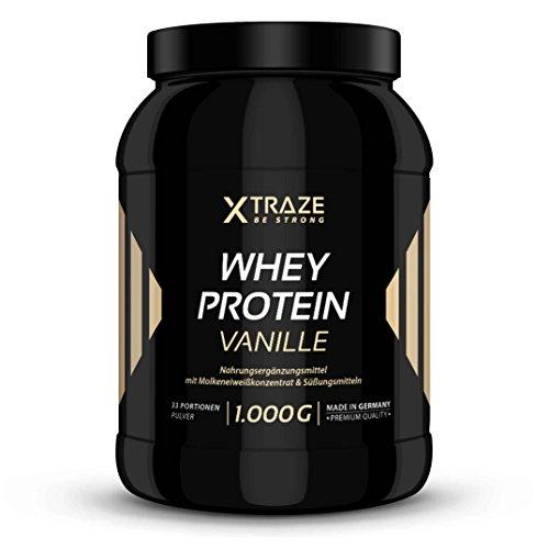 Whey Protein Pulver 1kg für Eiweiß-Shakes 1000g Molkenprotein-Konzentrat + Isolat mit BCAA - Qualität aus Deutschland - ohne Zusatzstoffe - für Kraftsport | Bodybuilding | Fitness (1 Dose Vanille)