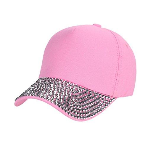 Yesmile Sombrero Mujer Nueva Moda Gorra de Béisbol Rhinestone Pata en Forma de Sombrero Snapback (talla única, Rosa)
