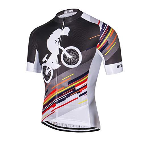 Weimostar MTB Trikot Herren Radtrikot Fahrrad-Jersey-Reißverschluss Mountain Road Kleidung Fahrrad-Oberteile Sommer Pro Team Rennrad Jersey für Männer weiß grau Größe M