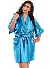 Nine X–Bata Kimono corta de satén tamaños S de 6x L. Fabricado en la ue, 10colores