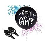 RepairMedia-Shop ★RM★ Palloncino XL Boy or Girl Elio Nero con coriandoli Imbottitura Rosa o Blu Baby Shower Party P185 ★ RM★