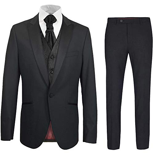 Paul Malone - Hochzeitsanzug modern Set 6tlg schwarz Slim FIT inkl. Hochzeitsweste schwarz Paisley 56
